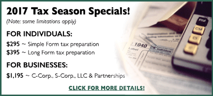Tax Preparation specials promo banner